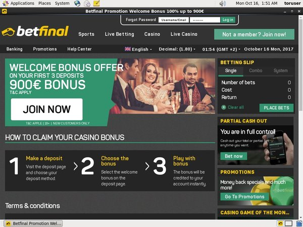 Betfinal Casino New Account Promo