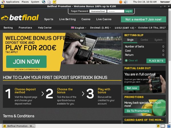 Betfinal Sports Welcome Offer