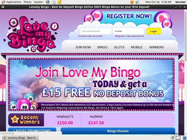Free Lovemybingo Account