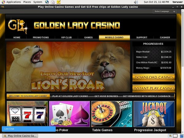 Golden Lady Casino Bonus Codes