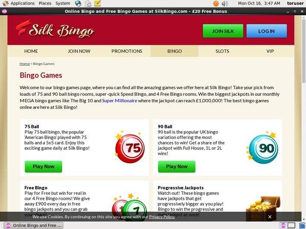 Silk Bingo Limited Bonus