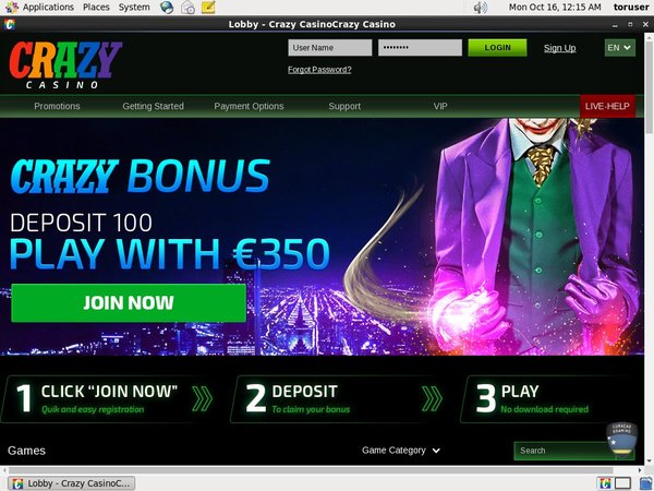 Crazy Casino New Player Bonus