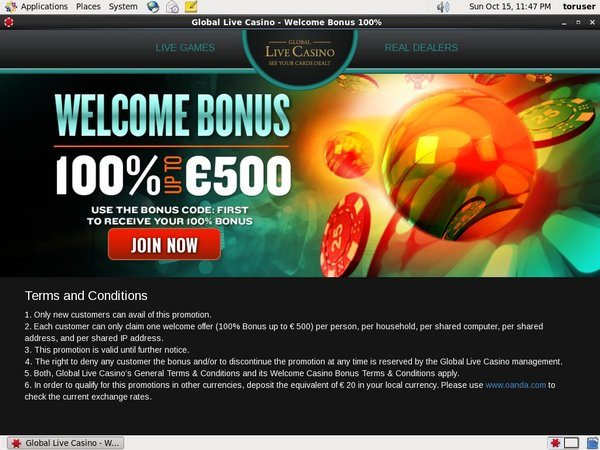 Global Live Casino Gutschein