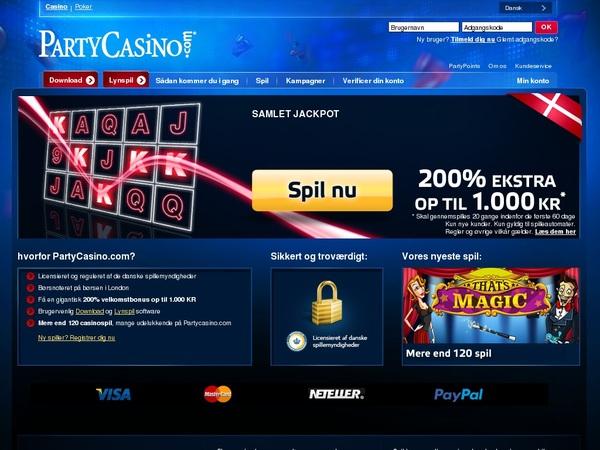 Party Casino (Denmark) Depósito